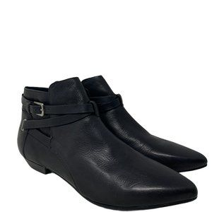 New Belle By Sigerson Morrison Pointed Toe Flat Black Leather Ankle Boots Sz 8.5